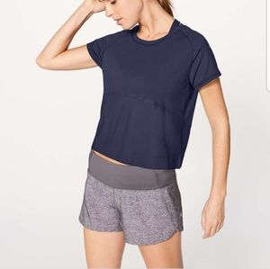 Lululemon Final Lap Navy Short Sleeve